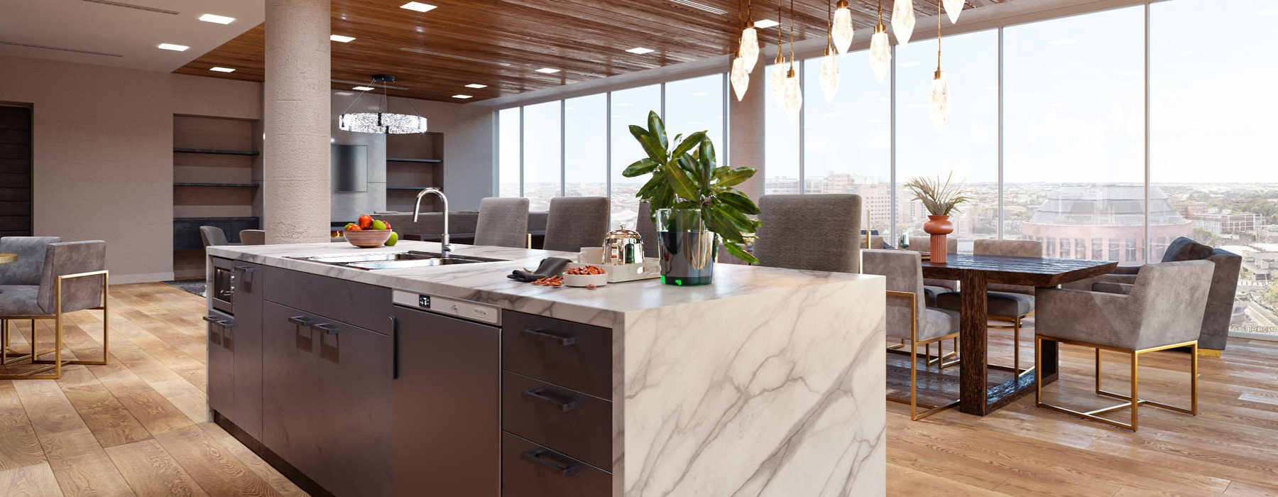 sky lounge rendering with kitchen, floor-to-ceiling windows and views of downtown
