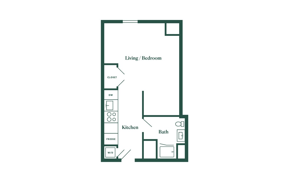 A1 Studio Bedroom 1 Bath Floorplan
