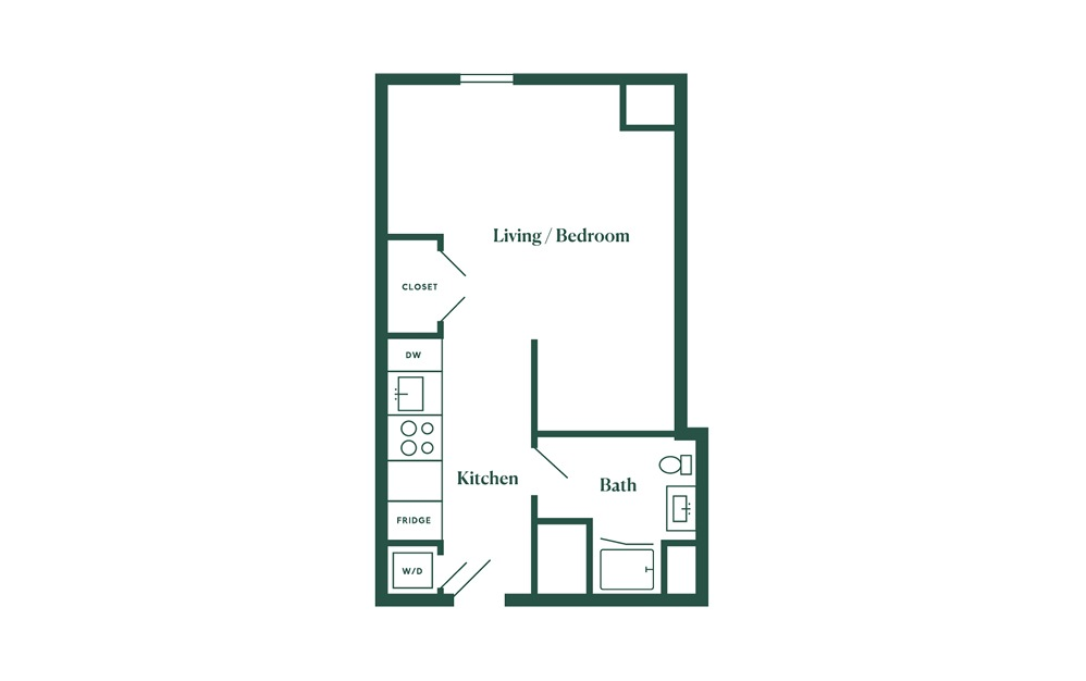 A2 Studio Bedroom 1 Bath Floorplan
