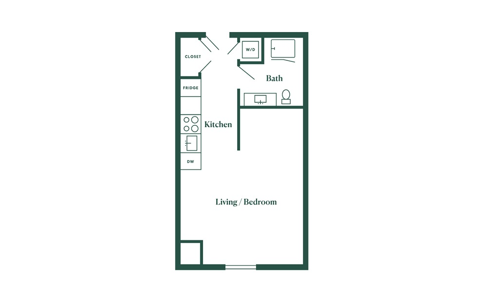 A3 Studio Bedroom 1 Bath Floorplan
