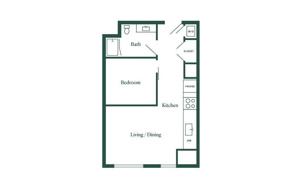 B1 1 Bedroom 1 Bath Floorplan