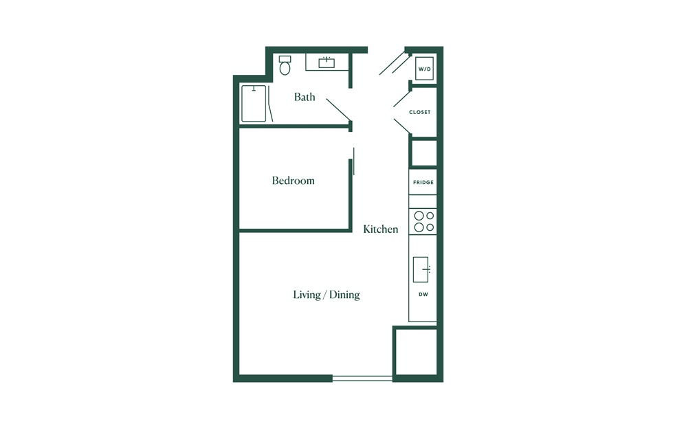 B3 1 Bedroom 1 Bath Floorplan