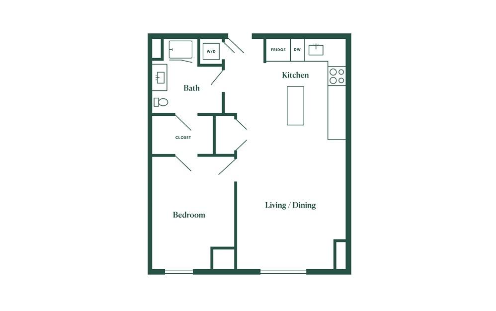 C1 1 Bedroom 1 Bath Floorplan