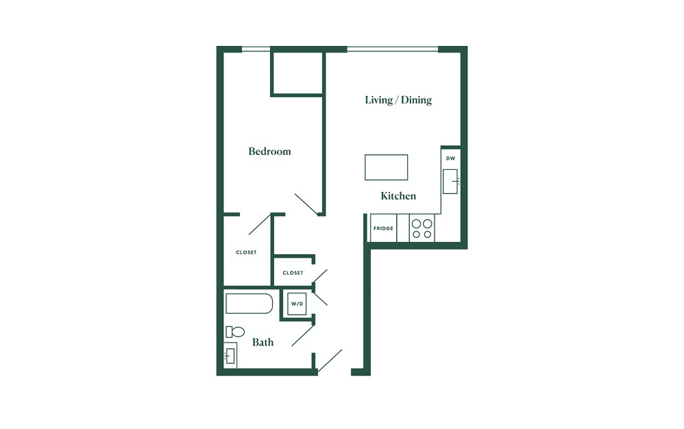 C3 1 Bedroom 1 Bath Floorplan