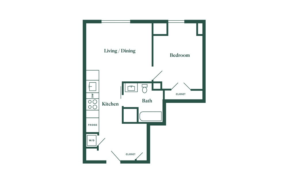 C4 1 Bedroom 1 Bath Floorplan