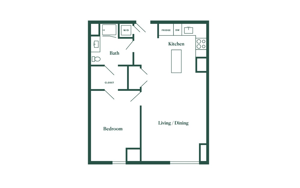C5 1 Bedroom 1 Bath Floorplan