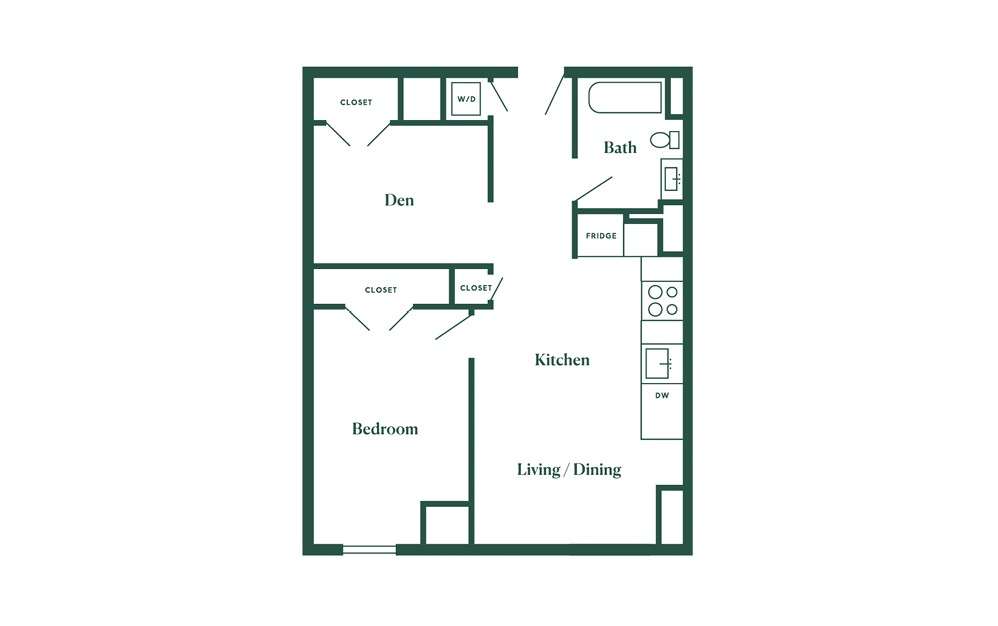 D1 1 Bedroom 1 Bath Floorplan