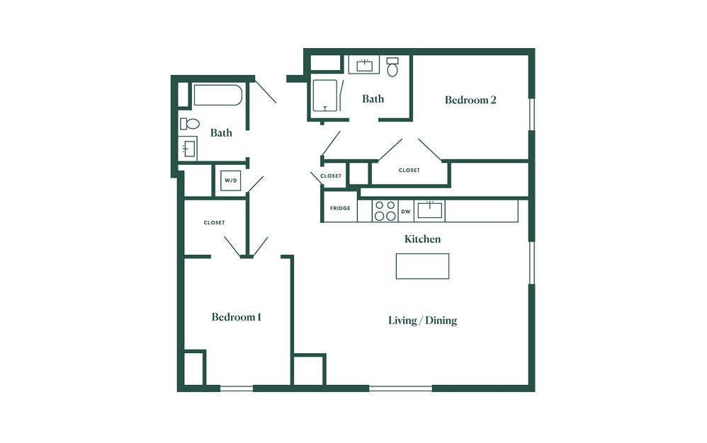 E1 2 Bedroom 2 Bath Floorplan