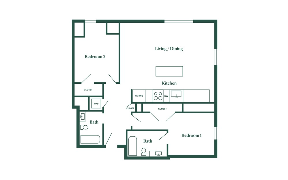 E2 2 Bedroom 2 Bath Floorplan