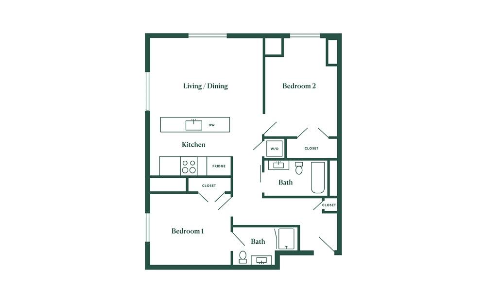 E3 2 Bedroom 2 Bath Floorplan