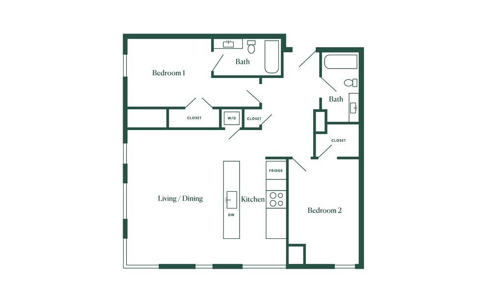 E4 2 Bedroom 2 Bath Floorplan