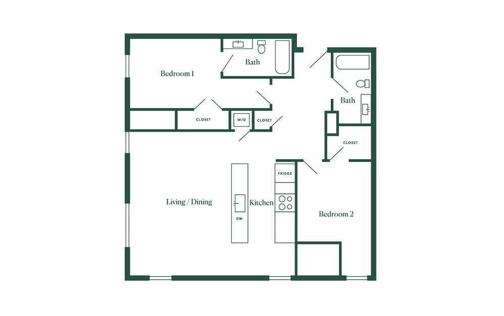 E5 2 Bedroom 2 Bath Floorplan