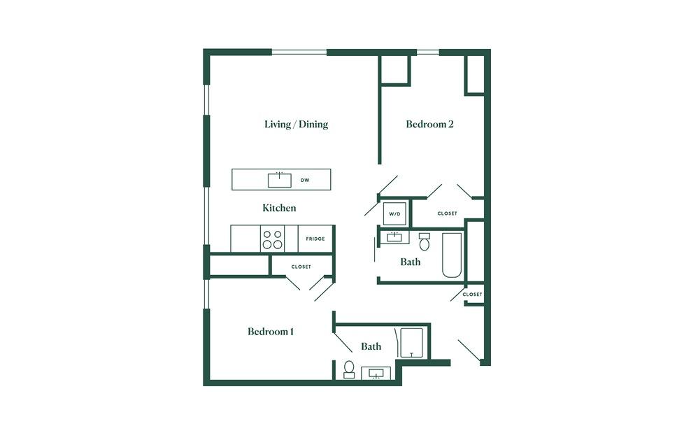 E6 2 Bedroom 2 Bath Floorplan