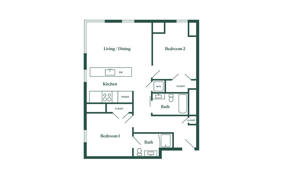 E8 2 Bedroom 2 Bath Floorplan